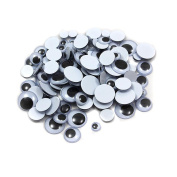 100 pk Movable wiggly wobbly googly eyes self-adhesive peel sticker all sizes