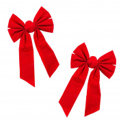 Red Velvet 6 Loop Bow for Wreath Decorations, Gifts & Presents Wrapping, Hanging Door Decor with Wire, Christmas Tree, Party Supply