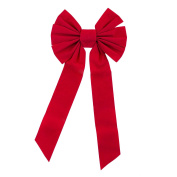 Red Velvet 7 Loop Bow for Wreath Decorations, Gifts & Presents Wrapping, Hanging Door Decor with Wire, Christmas Party Supply