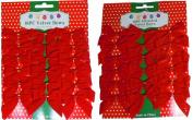 7.6cm Mini Red Velvet 2 Loop Bow W/Gold Foil Tie Back
