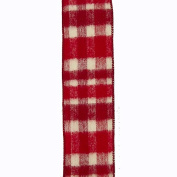 Kurt Adler 10 Yard Red And Ivory Plaid Christmas Double Knit Woven Ribbon