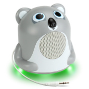 Mini Cute Animal Battery Powered Portable Speaker with LED Night Light (Koala Pal Jr) Speaker for Kids by GOgroove - Passive Subwoofer, Built-in 3.5mm AUX Cable - Plug Into Tablets, Phones, & more