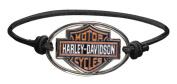 Harley-Davidson Bar & Shield Metal Charm Logo Elastic Wristband, Black WB30206, Harley Davidson