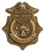 Harley-Davidson Firefighter Antique Gold Lapel Pin, 2.2cm W x 2.5cm H P1265261, Harley Davidson