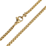 Hermah 3mm Mens Womens Braided Wheat Link Necklace Stainless Steel Chain 22inch