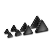 Hermah Womens Girls Mens Boys Triangle Screw Back Studs Earrings Black Tone Stainless Steel 4 Sizes Earrings