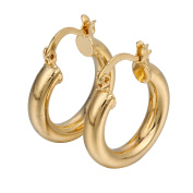 Hermah Womens Girls Smooth Round Tube Hoop Earrings Yellow Gold Plated w/ Snap Closure Fastening
