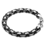 Hermah 8mm Mens Boys Chain Flat Byzantine Stainless Steel Bracelet 7inch