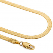 Hermah 3.5mm Mens Boys Chain Mirror Snake Herringbone Gold Plated Necklace 22inch