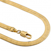 Hermah 4.5mm Mens Boys Chain Smooth Mirror Herringbone Snake Gold Plated Necklace 22inch