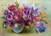 DIY 5D Diamond Painting by Number Kits, Full Drill Crystal Rhinestone Diamond Embroidery Paintings Pictures Arts Craft for Home Wall Decor, Orchid