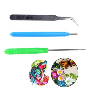TUANTUAN 3 Pcs Paper DIY Set Quilling Paper Tools Tweezer Needle Pins Slotted Pen Tool Kit