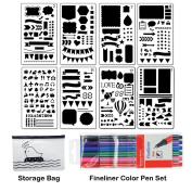 Bullet Journal Stencil Set 8 Pieces Plastic Planner Stencil Template 10cm x 18cm for Journaling Notebook Scrapbook Christmas Gift Card and Art Projects with Fineliner Colour Pen Set, Sirensky Brand