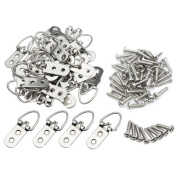 TOVOT 50 PCS D Ring Picture Hangers Double Hole with 304 Stainless Steel Phillips Screw