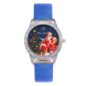 Clearance!!! MOSE New Christmas Santa Claus Leather Band Analogue Quartz Vogue Watches