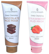 Pretty Smooth Mud Mask Set - Strawberry and Chocolate 2 x 200ml | Deep Cleansing | For ALL Skin Types