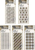 Tim Holtz - Stencils Set 12 - Five Item Bundle - New for Winter 2017 - Peppermint, Pines, Tinsel, Plaid, and Merry Christmas