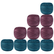 Set of 10 Pcs Turquoise Mauve Cotton Crochet Thread Cross Stitch Knitting Handicrafter Balls Yarn Tatting Doilies Skeins Lacey Craft