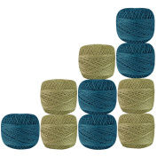 Lot of 10 Pcs Beige & Turquoise Blue Colour Cotton Crochet Thread Cross Stitch Knitting Handicrafter Balls Yarn Tatting Doilies Skeins Lacey Craft