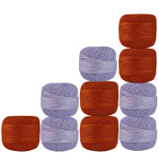 Lot of 10 Pcs Light Purple & Orange Colour Cotton Crochet Thread Cross Stitch Knitting Handicrafter Balls Yarn Tatting Doilies Skeins Lacey Craft