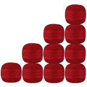 Set of 10 Pcs Red Colour Cotton Crochet Thread Cross Stitch Knitting Handicrafter Balls Yarn Tatting Doilies Skeins Lacey Craft {206}