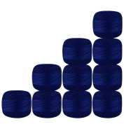 Set of 10 Pcs Royal Blue Colour Cotton Crochet Thread Cross Stitch Knitting Handicrafter Balls Yarn Tatting Doilies Skeins Lacey Craft {52}