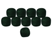 Set of 10 Pcs Black Metallic Green Cotton Crochet Thread Cross Stitch Knitting Handicrafter Balls Yarn Tatting Doilies Skeins Lacey Craft