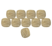 Lot of 10 Pcs Gold Metallic White Cotton Crochet Thread Cross Stitch Knitting Handicrafter Balls Yarn Tatting Doilies Skeins Lacey Craft