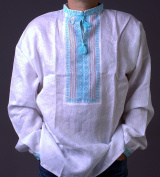 HAND Mens White VYSHYVANKA LINEN SHIRT turquoise Embroidered XL