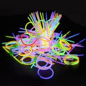 100pcs Glow Sticks Party Pack, Kwock 20cm Premium Bracelets, Necklaces, Kits to Create Glasses, Triple Bracelets, Headband, Earrings, Flowers, Glow Ball, with 100pcs Bracelet Connectors