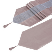 Table Runner Handmade Elegant Style Natural Table Cloth With Diamante Strip And Tassels for Weddings and Holidays 180cm