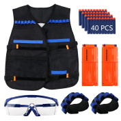 Tactical Vest Jacket Kits for Nerf N-Strike with 40pcs Darts + Protective Goggles Glasses + 2pcs Quick Reload Clip + 2pcs Hand Wrist Band.
