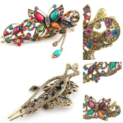 Valuable Hairpins ,Dealzip Inc Chariming Retro Jewellery Crystal Rhinestone Colourful Butterfly Hairpins Hair Clips Hair Beauty Tools Accessory