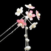 FINGER LOVE Acrylic 2-Prong Hair Stick Fork Hairpin with Gradient Flower Cluster & Faux Pearl Tassels