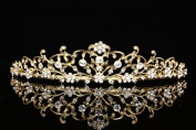 Venus Jewellery Flower Vine Design Bridal Tiara Crown - Clear Crystals Gold Plating