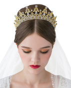 SWEETV Royal Wedding Crown CZ Crystal Pageant Tiara Bridal Headpiece Women Hair Jewellery, Gold+Clear