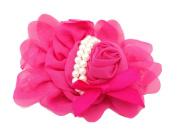 FuzzyGreen Elegant Baby Girls Chiffon Hot Pink Rose Flower Pearl Headband Hairband Photography