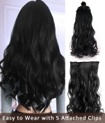 Rhyme 60cm Black One Piece Hair Extensions 3/4 Full Head Natural Curly Wavy Hairpieces Medium Length Clip in Wigs for Girls/Women - 100% Salon Quality Synthetic Hairpieces with 5 Attached Clips