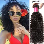 YIROO Brazilian Virgin Curly Hair Weave Remy Human Hair Extensions Brazilian Hair 3 Bundles Natural Colour 95-100g/pc