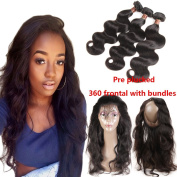 Miss Flower 8A Malaysian Virgin Hair Body Wave 3 bundles with 360 Lace Frontal Closure Malaysian Body Wave with Closure Pre Plucked 360 Lace Frontal with Bundles