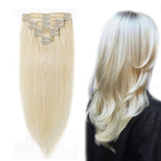 25cm / 25cm Clip in 100% Remy Human Hair Extensions #60 Platinum Blonde Grade 7A Quality Full Head 8pcs 18clips Short Straight for Women Fashion 70g