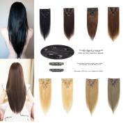 LFLIN Clip In Human Hair Extensions 100% Real Remy Jet Black Full Head Long Soft Silky Straight 8pcs 18clips For Women Beauty.
