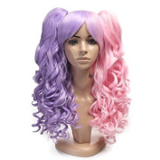Netgo Long Curly Purple and Pink Cosplay Wig for Women Muticolor Harajuku Lolita Style Wig 2 Clip-On Tails