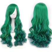 AneShe 70cm Women's Green Wig Long Curly Harajuku Lolita Style Cosplay Wigs Heat Resistant Fibre Wigs