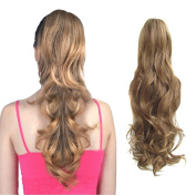Ponytail Clip in Hair Extensions 60cm Dark Blonde Long Curly Claw Ponytail Hairpiece Weave Pony Tail Synthetic Hair