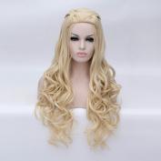 Aosler Game of Thrones Daenerys Targaryen Cosplay Wig Braided Blonde Long Curly Synthetic Hair Wigs