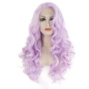 Ebingoo Handmade Synthetic Lace Front Wig Long Wavy Purple Wigs Heat Resistant Women Hair