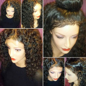 JAHUI Hair 180%-250% Density Pre Plucked 360 Lace Frontal Wigs for Black Women Curly Brazilian Virgin Hair 360 Lace Wigs with Baby Hair