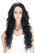 Kalyss Women's Long Curly Black Hair wigs