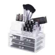 Makeup Organiser Cosmetic Storage Box - AWAYTR Acrylic Rack Shelf Lipsticks Brushes Cosmetics Organiser Necklace Bracelet Jewellery Holder